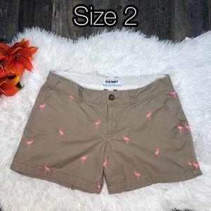 Tan/pink flamingo shorts